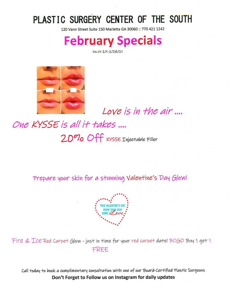 February 2021 specials include 20% Kysse filler, BOGO fire and ice facial